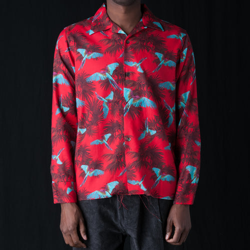 Bird Print Cut-Off Bottom One-Up Shirt in Red