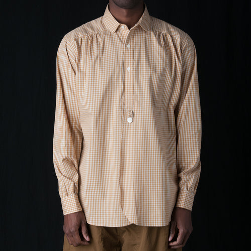 Gingham Round Collar EDW Gather Shirt in Yellow