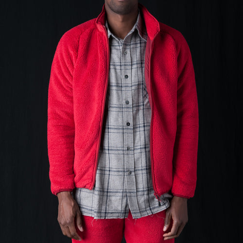 Synthetic Fur Piping Jacket in Red