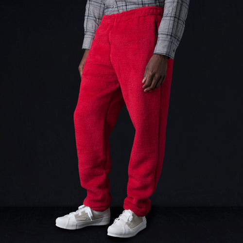 Synthetic Fur String Easy Pant in Red