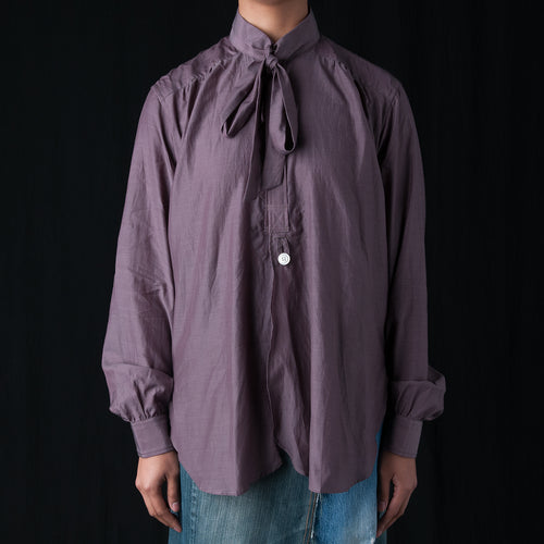 Ascot Collar EDW Gather Shirt in Purple