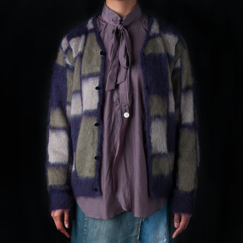 Block Mohair Cardigan in Purple