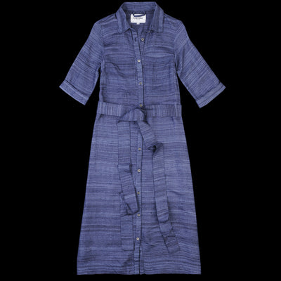 Corridor - Silk Tussa Long Button Dress in Indigo