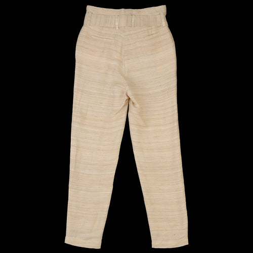 Silk Tussa Paper Bag Pant in Natural