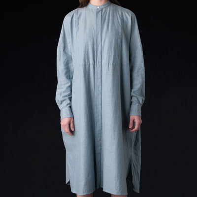 Toujours - Brushed Chambray Back Gathered Bosom Shirt Dress in Heather Indigo