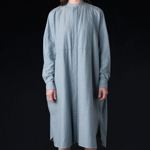 Brushed Chambray Back Gathered Bosom Shirt Dress in Heather Indigo