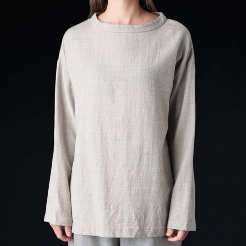 Wool Alpaca Gauze Long Sleeve Big Tee in Oatmeal
