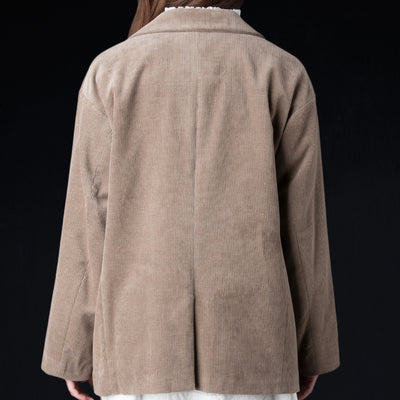 Toujours - Cotton Cashmere Corduroy Oversized Low Button Sack Jacket in Heather Mocha