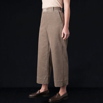 Toujours - Cotton Cashmere Corduroy Wide Cuff Sack Trouser in Heather Mocha