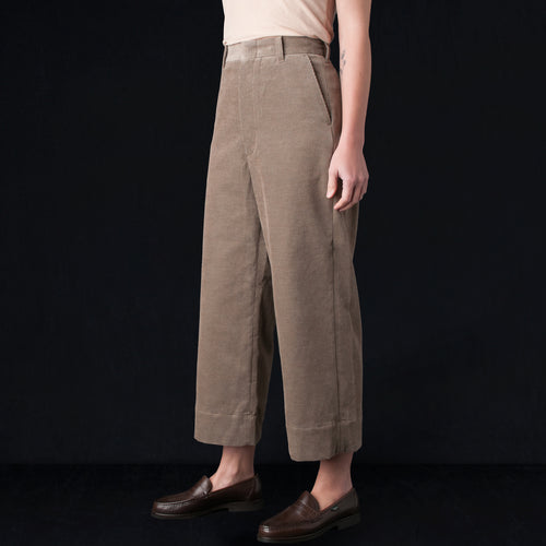 Cotton Cashmere Corduroy Wide Cuff Sack Trouser in Heather Mocha