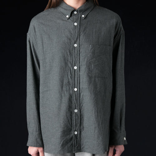 Brushed Chambray Oversized Button Down Shirt in Heather Grey