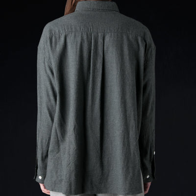 Toujours - Brushed Chambray Oversized Button Down Shirt in Heather Grey