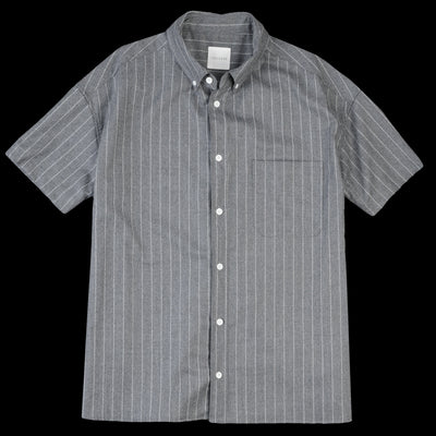 Toujours - Worsted Wool Stripe Oversized Short Sleeve Button Down Shirt in Heather Grey