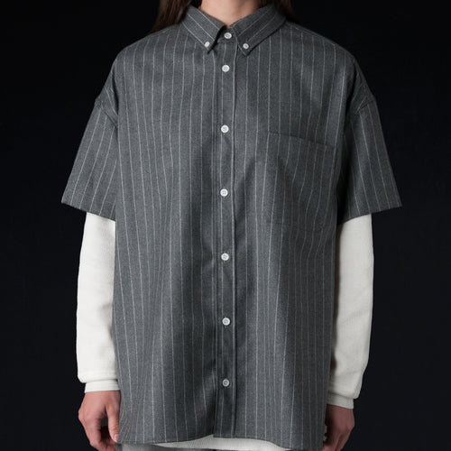 Worsted Wool Stripe Oversized Short Sleeve Button Down Shirt in Heather Grey