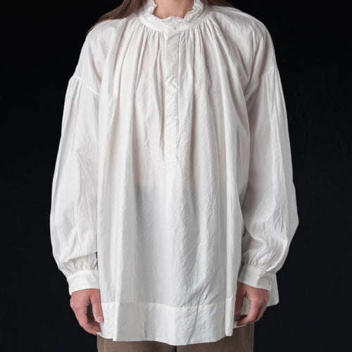 Silk Cotton Triple Yarn Faille Frill Collar Surplice Shirt in Cloud