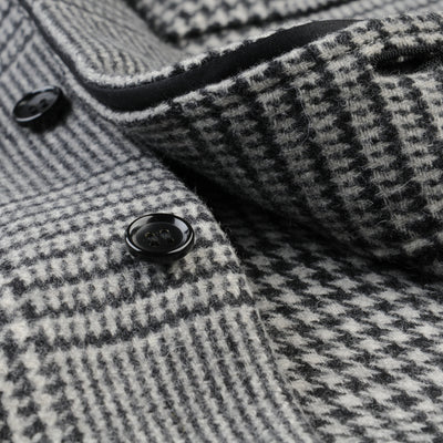 Toujours - Wool Glen Plaid Big C.P.O. Shirt Jacket in Off White & Black