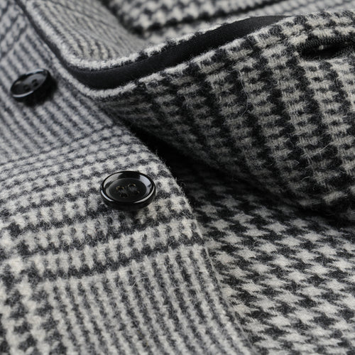 Wool Glen Plaid Big C.P.O. Shirt Jacket in Off White & Black