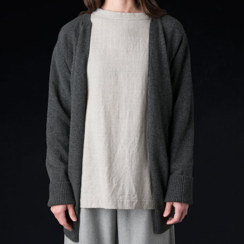 Extra Fine Cashmere Plain Stitch Back to Front Cardigan in Charcoal
