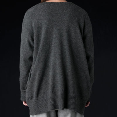 Toujours - Extra Fine Cashmere Plain Stitch Back to Front Cardigan in Charcoal