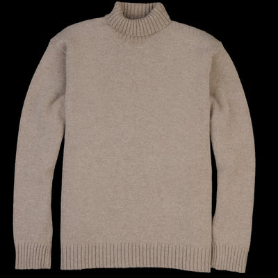 Country of Origin - Staple Lambswool Funnel Neck Sweater in Mushroom