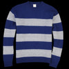 Country of Origin - Fleece Stripe Crew Sweater in Grey & Navy