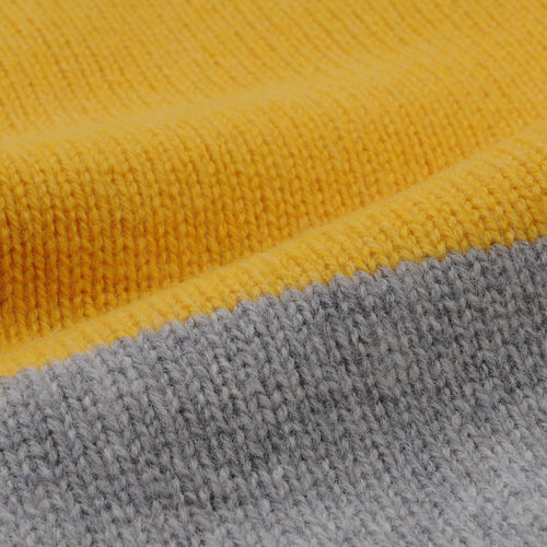 Updown Lambswool Crew Sweater in Yellow & Grey