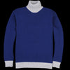 Country of Origin - Contrast Lambswool Turtle Sweater in Navy & Grey