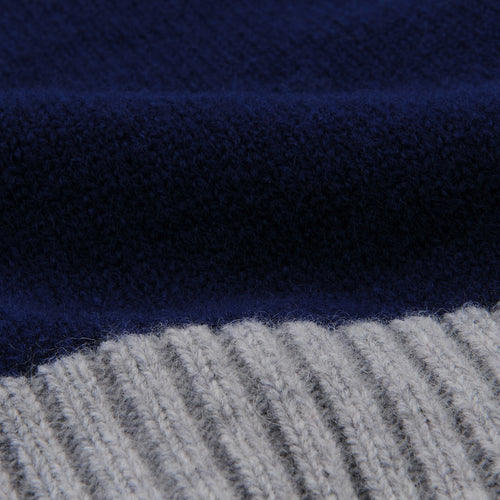 Contrast Lambswool Turtle Sweater in Navy & Grey