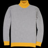 Country of Origin - Contrast Lambswool Turtle Sweater in Grey & Yellow