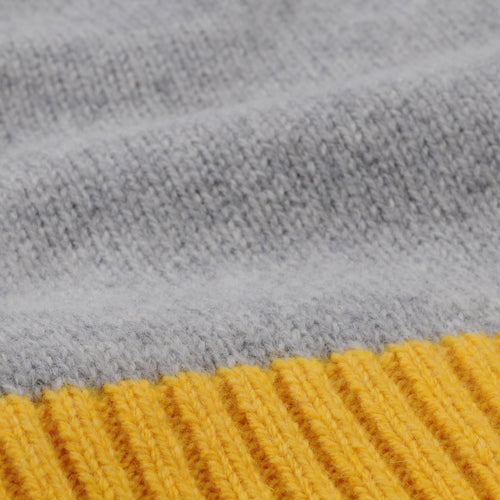 Contrast Lambswool Turtle Sweater in Grey & Yellow