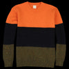 Country of Origin - Tri-fabric Crew Sweater in Orange Navy & Khaki