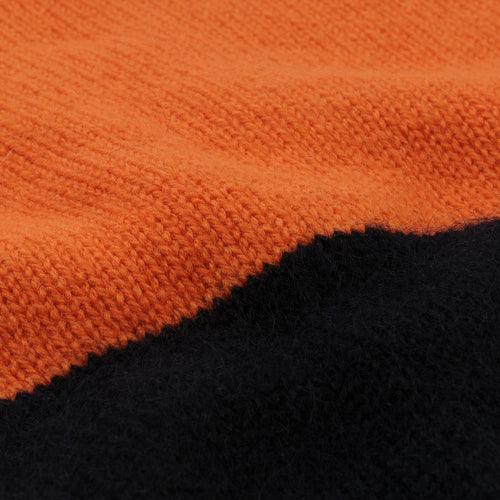 Tri-fabric Crew Sweater in Orange Navy & Khaki