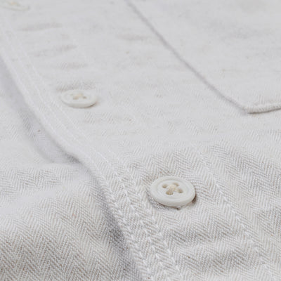 Home Work - Herringbone Overshirt in White
