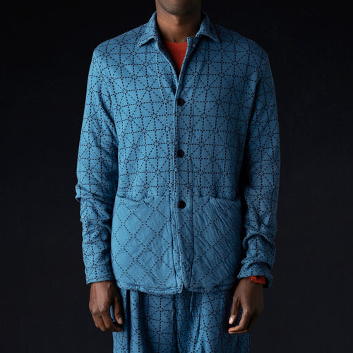 DO-GI Sashiko Jersey Coverall in Blue