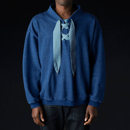 IDG Fleecy Knit NAMAZU Lace Up Sweatshirt in Indigo