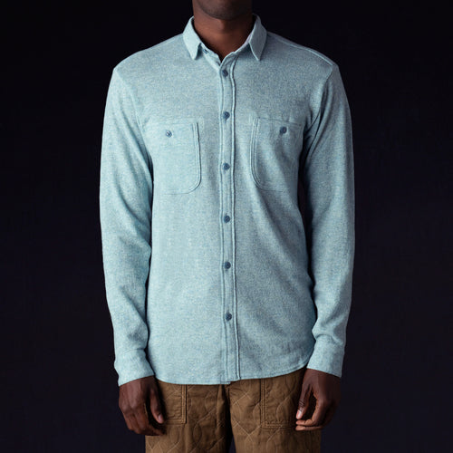 Lamb Wool Jersey Work Shirt in Sax