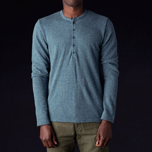 Lamb Wool Jersey Henley in Turquoise