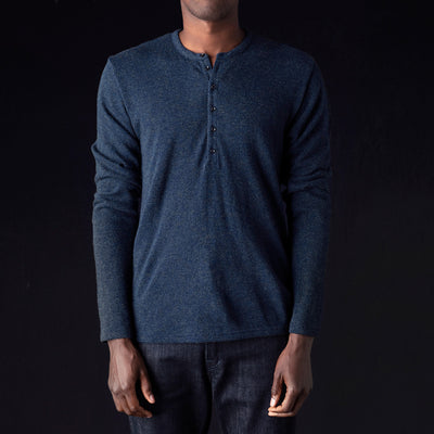 Kapital - Lamb Wool Jersey Henley in Navy