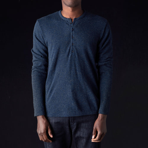 Lamb Wool Jersey Henley in Navy