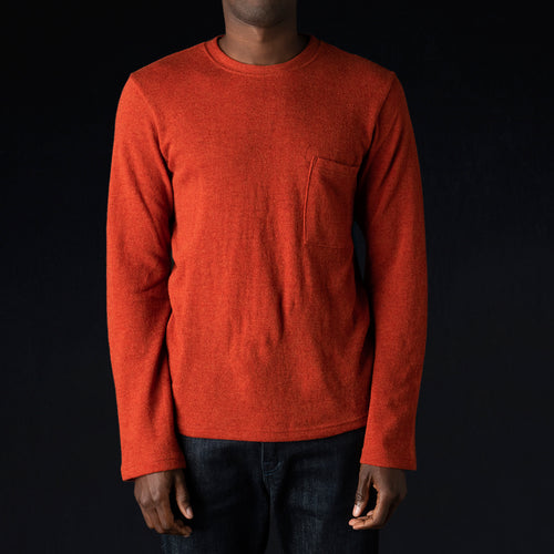 Lamb Wool Jersey Long Sleeve Crew Tee in Orange