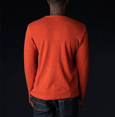 Kapital - Lamb Wool Jersey Long Sleeve Crew Tee in Orange