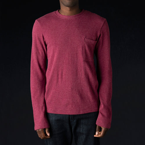 Lamb Wool Jersey Long Sleeve Crew Tee in Purple