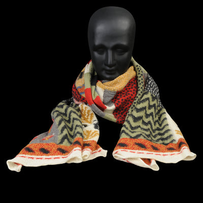 Kapital - Compressed Wool VILLEGE GABBEH Scarf in Red