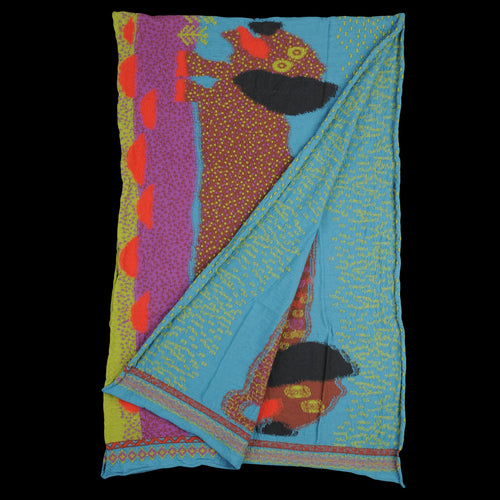 Compressed Wool DOS DACHSHUNDS Scarf in Turquoise