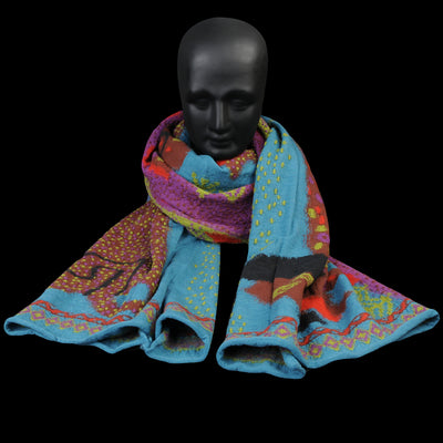 Kapital - Compressed Wool DOS DACHSHUNDS Scarf in Turquoise