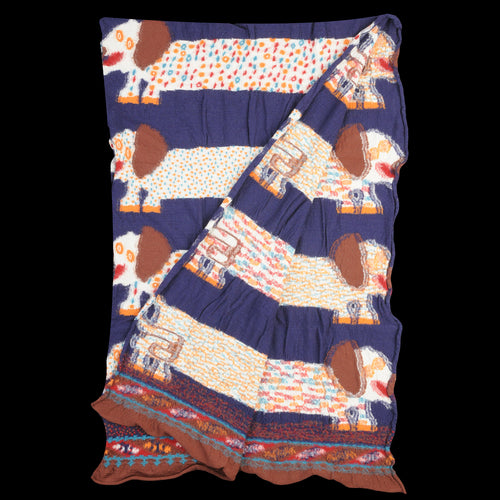 Compress Wool OCHO DACHSHUNDS Scarf in Navy