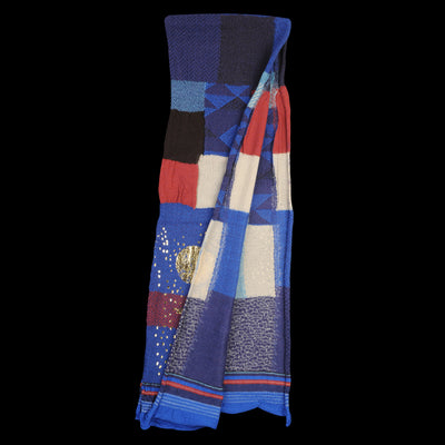 Kapital - Compressed Wool BORO Patchwork Foil Print Scarf in Blue