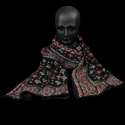 Kapital - Compressed Wool COLORFUL BIG MAMA BANDANA Scarf in Black