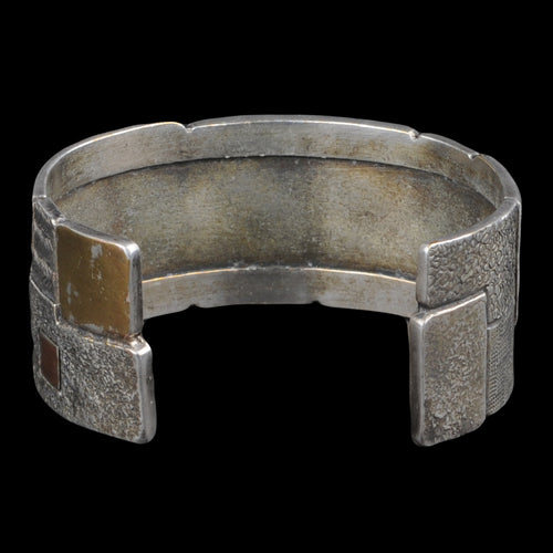 Brass x Silver Gabbeh Patch Bangle in Silver