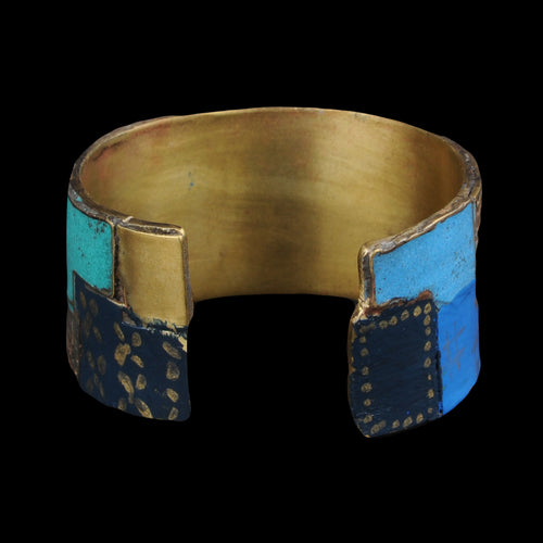Brass BORO Patchwork Bangle in Navy